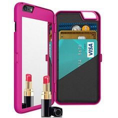 Your Smart Phone holds a lot of vital information. Now your Phone Vault can hold Cash, Cards and more. It also has a mirror so you can check your reflection and know you are looking your best. For iPhone 6 and 6 Plus in 3 different colors : Black , Hot Pink and Purple.