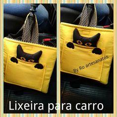 By Ro artesanatos : Lixeira para carro gatinho