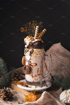 Giant monster caramel milk shake by Ekaterina on Milkshake Recipes, Smoothie Recipes, Snack Recipes, Dessert Recipes, Nutella Milkshake, Dessert Drinks, Yummy Drinks, Delicious Desserts, Yummy Food