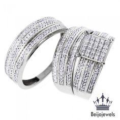 10k White Gold Diamond Trio Ring Set Wedding Bridal Band Engagement Ring 2.50Ct #beijojewels