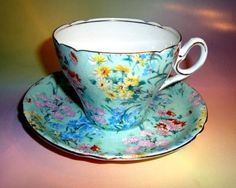 "$95 Pretty Chintz ""Melody"" Shelley Tea Cup and Saucer Set"