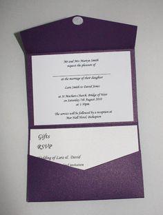 Cadburys Purple Pocketfold Wedding Invitation - Vintage Wedding Stationery Scotland - VOWS Award Nominee 2013 Purple Wedding Stationery, Vintage Wedding Invitations, Wedding Invitation Design, Wedding Stationary, Invitation Ideas, Pocketfold Invitations, Invites, Dot Texture, Vows