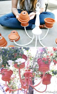 Use old chandelier and make this awesome hanging planter!