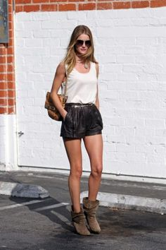 rosie huntington-whiteley // leather shorts