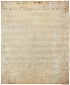 Declaration of Independence - Official signed copy of the Declaration of Independence, August 2, 1776.