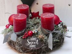 Christmas Advent Wreath, Christmas Decorations, Table Decorations, Holiday Decor, Pillar Candles, Tulips, Sweet Home, Decorating, Etsy