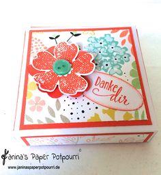 Pizza Box Verpackung für 4 Teelichte / Tealight pizza box / Stampin' Up! / Sweets Sorbets / Stiefmütterchen Stanze / So froh  www.janinaspaperpotpourri.de