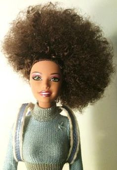 Jurnee Barbie with Curly Side Swept Afro #NaturalHair #Barbie #Doll