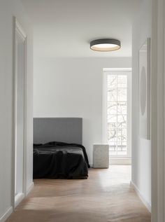Duo Ceiling Light Fixture by Vibia Vaulted Ceiling Bedroom, Bedroom Lamps, Bedroom Lighting, Ceiling Lamp, Master Bedroom, Bedroom Decor, Flat Ceiling Lights, Bedroom Interiors, Cozy Bedroom