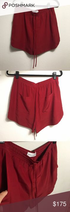 NWOT Robert Rodriguez silk shorts 2017 collection Brand new and never worn, in perfect condition, from this seasons collection by famous luxury designer, high quality, deep red color, has 4 pockets and stretchy/ tied waistband, no size listed but would fit M/L size 6-8 (bought at sample sale where standard size is 6 and did not come with a tag), being sold at Nordstroms right now for $285 ✨always open to offers✨ Robert Rodriguez Shorts