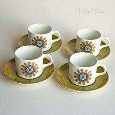 Set of Four 4 x J&G Meakin Galaxy Pottery Tea/Coffee Cups & Saucers FREE UK P&P in Pottery, Porcelain & Glass, Pottery, J&G Meakin | eBay