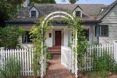 Red Brick Pavers, Brick Walkway, Brick Path, Garden Arbor, Garden Gates, Hillside Garden, White Picket Fence, Picket Fences, White Fence