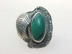 Vintage Genuine MALACHITE RING in STERLING Silver - Size 6 via quadrina $60.00