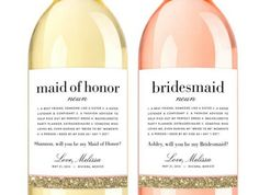Will You Be My Bridesmaid wine labels, bridesmaid Definition Champagne Labels - Ask Bridesmaid Card - Bridesmaid Proposal Gift Will You Be My Bridesmaid Gifts, Bridesmaid Proposal Gifts, Bridesmaid Cards, Bridesmaid Wine Bottle, Love Label, Champagne Label, Good Listener, Wine Bottle Labels, Custom Labels