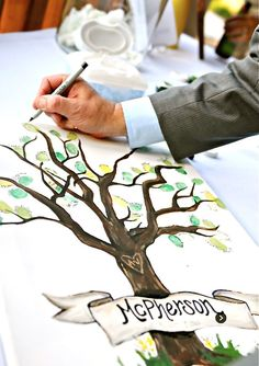 """Wedding thumb print tree """"guest book"""" - have your guests """"leaf"""" a thumb print and signature on your wedding tree. Great, nature-inspired alternate to the boring old guest book!"""