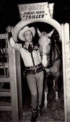 Roy Rogers and Trigger - this was taken in the lobby of a hotel in New York, I believe in 1943. The horse is Little Trigger.