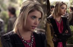 Hanna's black blazer with embroidered sleeves and pink necklace on Pretty Little Liars.  Outfit Details: http://wornontv.net/13126/ #PrettyLittleLiars