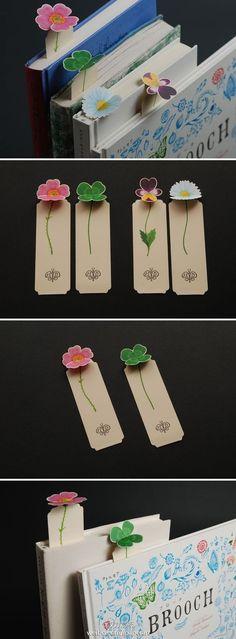 【创意欣赏】花花书签,让你的书中开出花朵。巧妙的设计既方便收藏又合适使用。有心的DIYer不妨采用这种设计制作专属书签。: