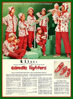 1958 Sears catalog page featuring Christmas pajamas for the whole family.
