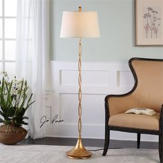 Ambient Hand Forged Metal Forming A Delicate Helix Pattern Finished In Lightly Antiqued Gold Leaf Twist Floor Lamp