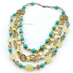 Multi-layered Colorful Turquoise Rope Necklace