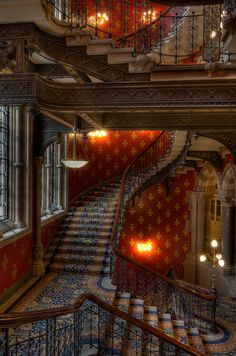 St. Pancras Hotel, London, England, GB, I stayed in one like this in the Highlands of Scotland. Lots of stairs like Hogwarts. But it would be romanctic with the right person, anticipation is an aphrodisiac.