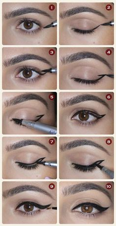 Winged Eyeliner - 12 Different Eyeliner Tutorials You'll Be Thankful For | Makeup Tips & Tricks at http://makeuptutorials.com/12-different-eyeliner-tutorials-youll-thankful/