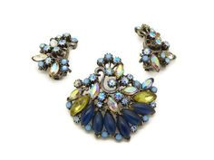 Florenza Blue Satin and Sparkling AB Demi by VintageLaneJewelry