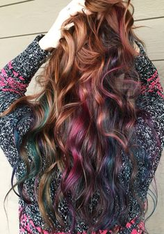 auburn hair with pink, blue and green balayage