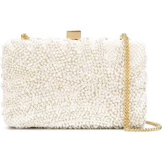 Elie Saab Sequinned Clutch ($1,898) ❤ liked on Polyvore featuring bags, handbags, clutches, white, leather purse, leather clutches, white handbags, leather handbags and white clutches