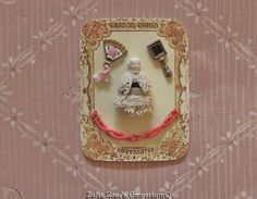 FRENCH FASHION DOLL~Accessory~Tiny Presentation Card~Antique Frozen Charlotte