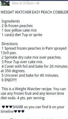 Weight watcher peach cobbler:
