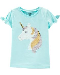Unicorn Alpaca Childrens Girls Reversible Sequin T-Shirt Blouse Short Sleeve Tunic Shirt