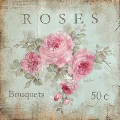 Romantic Shabby Cottage Chic Vintage Style Roses Bouquets Wood Sign by Debi Coules - Debi Coules Romantic Art Romantic Shabby Chic, Shabby Chic Cottage, Shabby Chic Decor, Shabby Chic Artwork, Rustic Artwork, Rose Cottage, Canvas Artwork, Canvas Wall Art, Canvas Prints
