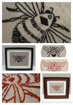 DIY embroidery KIT bumblebee embroidery pattern by iHeartStitchArt