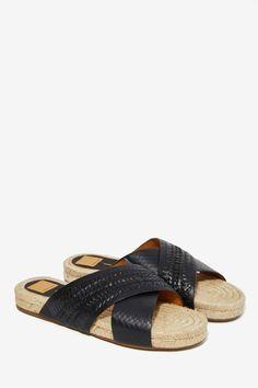 Leather Espadrille Slide