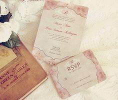 French Floral Pink Wedding Invitations