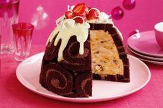 Choc-honeycomb ice-cream pudding