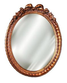Classic Petite Bow and Ribbon Top Oval Mirror Antique Reproduction in 60 Colors