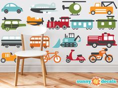 Transportation Theme Fabric Wall Decals for Nursery and Kids Rooms with Cars, Trucks, Planes, Trains, Bikes, and More - Three Size Options