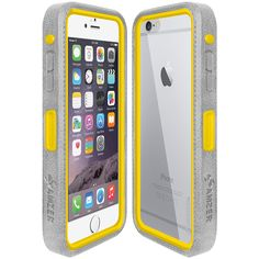 Amzer® CRUSTA™ Rugged Case Grey on Yellow Shell Tempered Glass with Holster for iPhone 6 Plus