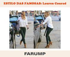 Inspire-se no look de Lauren Conrad! A combinação de jeans verde, ankle boots, cinto e camisa branca ficou alinhada e fashion.