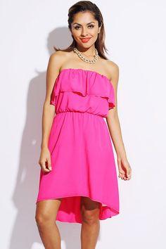 #1015store.com #fashion #style hot pink ruffled high low tube sundress-$15.00
