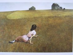 Cristina's World, 1948 by Andrew Wyeth - Tempera on gessoed panel. The painting depicts Wyeth's neighbor, Christina Olson, sprawled on a dry field facing her house in the distance. Wyeth was inspired by Christina who was crippled with polio. The painting is located at the Museum of Modern Art in New York City.