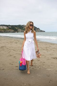 """""""This versatile shirt dress is already the MVP (most valuable player) in my summer wardrobe. Pair it with ballet flats for a casual day at the office or sandals and your favourite beach bag for a walk on the beach. I wore it for a day on the beautiful Baker Beach in San Fran."""""""