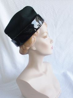 1960's Vintage Black Patent Leather Mod Hat by MyVintageHatShop