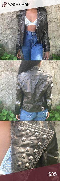 Black Studded Motorcycle Jacket Vintage Jacket Jackets & Coats