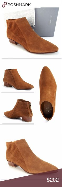 New AQUATALIA Size 8.5 Oak Brown Ankle Boots AQUATALIA 100% Authentic!!! Cognac Suede Ankle Booties Size 8 1/2 Medium Made in Italy New with box and dust bag. All actual photos of the item except for pic#2 Aquatalia Shoes Ankle Boots & Booties