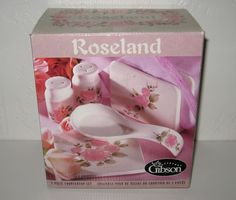 GIBSON Roseland Countertop Set Trivet Spoon Rest Napkin Holder Su0026P & Vintage Gibson Housewares Pink Roses Plate | My Dinnerware _ Gibson ...