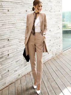 Women's Jacket and Pants Suit Korean Style Uniform V-neck Long Elegant for Autumn Business Office - Business Attire Business Outfit Frau, Business Outfits, Business Attire, Office Outfits, Business Fashion, Casual Outfits, Work Outfits, Business Suits For Women, Work Suits For Women